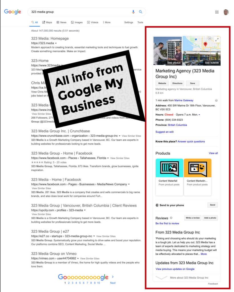 Google Search Results for 323 Media, an example of local search results optimized for Local SEO.